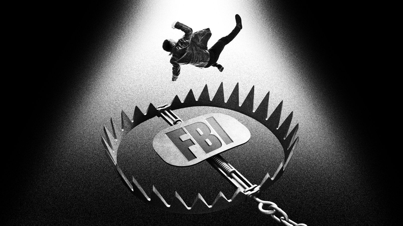 "Man falling into a bear trap that has ""FBI"" written in the middle."